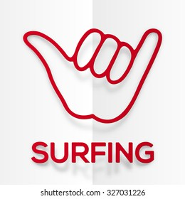 Vector paper silhouette red surfers shaka symbol with realistic shadow