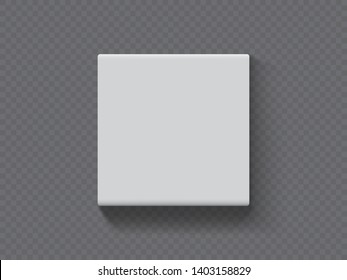 vector paper square packaging box on dark background mock up