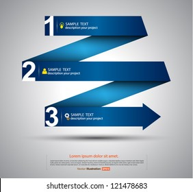 Vector paper step arrows origami style / business concept / go to success