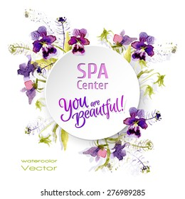 Vector paper sticker with water color flowers. Spa