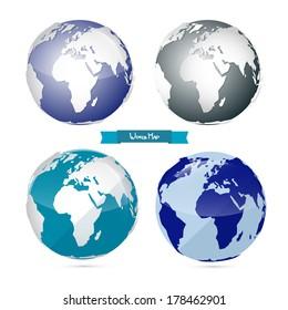 Vector Paper World Map Illustration