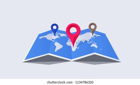 Vector Paper Worldmap With Colorful Pointers. Global Searching On The Worldmap. Conceptual Flat Vector Illustration.