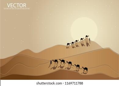 vector papercut camels walking in desert background
