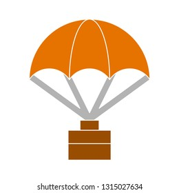 vector Parachute landing adventure - Parachute landing isolated, adventure illustration - Vector adventure icon