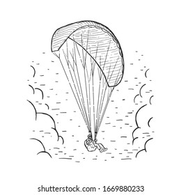 Vector Paraglider. Sketch illustration with hand drawn skydiver flying with a paraglider. Black line isolated on white. Extreme sports concept. Design for print, cover, poster and banner