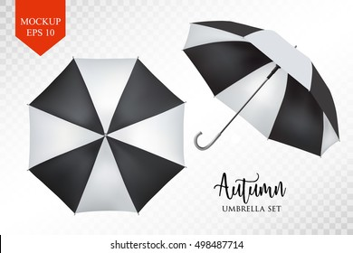 Vector parasol rain umbrella, Sunshade set. black striped , isolated .Blank Classic Opened Round slanted Mock up isolated .Side, top View.illustration object for advertising, poster, banner design.