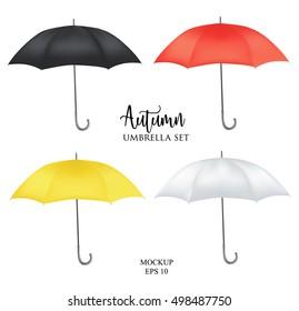 72ca2b09c Vector parasol rain umbrella, Sunshade set. Red, yellow white black colored  .Blank