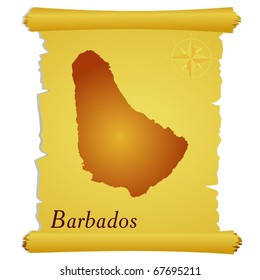 vector parchment with a silhouette of Barbados