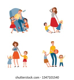 Vector parenthood problems of big family concept set. Tired, exhausted father and mother with naughty and nasty children. Mom and dad trying to handle crying sons, daughters and newborn baby