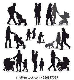 Vector parents with children silhouettes collection isolated on white background.