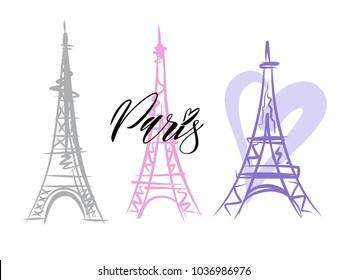 Vector of a Paris Eiffel Tower Icon. Hand drawn
