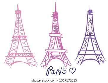 Vector of a Paris Eiffel Tower Icon. Hand drawn. Set