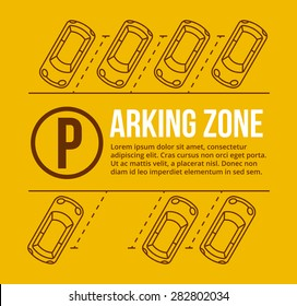 Vector parking lot illustration. Car and transportation, auto park, empty row