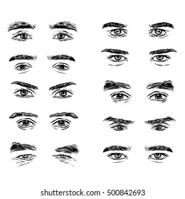 Vector part of the male person s eyes and eyebrows.