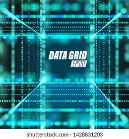 Vector particle grid. Cyberspace technology background. Lattice weave structure