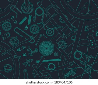 Vector parts of mountain bike line seamless texture. Isolated on gray background.