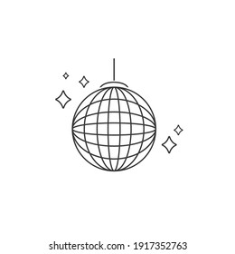Vector party ball line icon in flat sign