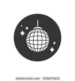Vector party ball white icon in flat sign