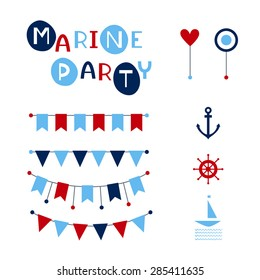 Vector party flags. Marine party card. Colorful bunting and garland set. Vector illustration