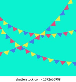 Vector party flags pastel palette green background