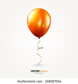 Vector party flying balloon with streamer isolated on white background.