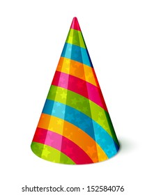 Vector Party hat with stripes and stars on white