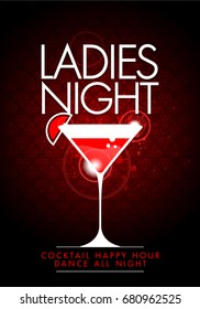 vector party ladies night flyer design template with cocktail glass