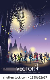 vector party on the beach on night background.full moon party