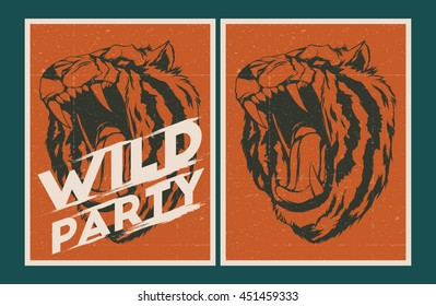 Vector party Poster. Wild party invitation set.