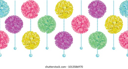 Vector Party Set of Hanging Pastel Colorful Birthday Party Paper Pom Poms and Beads Horizontal Seamless Repeat Border Pattern. Great for handmade cards, invitations, wallpaper, packaging, nursery