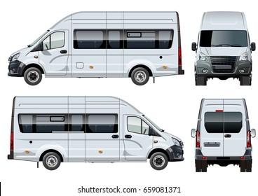 eddf8e66303b Vector passenger van template isolated on white. Side