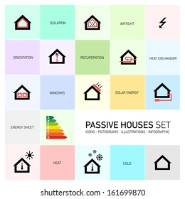 Vector passive houses icons and pictograms icon set
