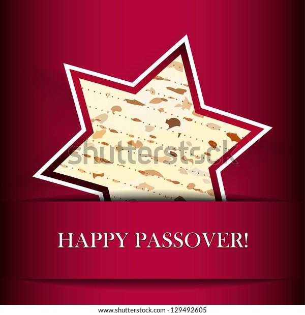 Vector Passover card with matza (Star of David shape)