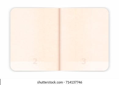 Vector passport blank pages for stamps. Empty passport with watermark. Realistic international document for travel