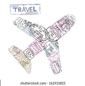 vector passport stamps in the form of a airplane - travel theme background