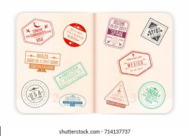 Vector passport with stamps. Open passport pages with airport stamps and watermarks. Realistic international document for travel