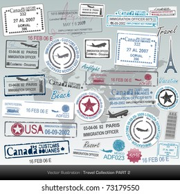 Vector passport stamps and travel icons