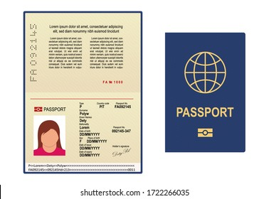 Vector passport template. Open page of visa document with personal photo. International passport icon for legal immigration. Cartoon passport with id, data for identification of person in travel