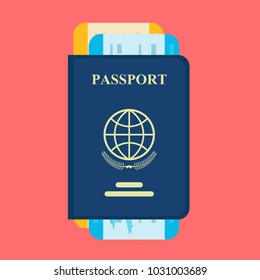 Vector passport with tickets. Air travel concept. Flat Design citizenship ID for traveler isolated. Blue international document - pasports illustration.