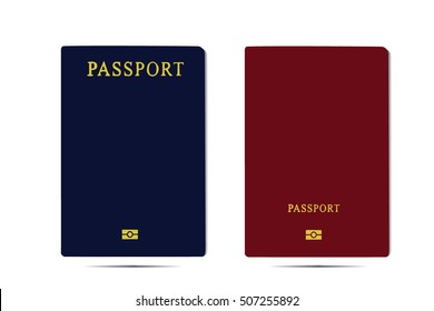 Vector Passports with map isolated on white background.