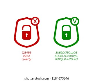 Vector Password Management Icons, Weak and Strong Passwords, Green and Red Signs Isolated on White Background.