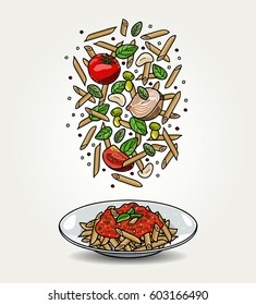 Vector Pasta Penne with Tomato Sauce in Plate and Falling Ingredients
