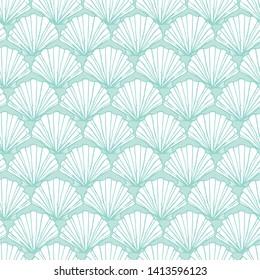 Vector pastel aqua seashells repeat pattern. Suitable for gift wrap, textile and wallpaper.