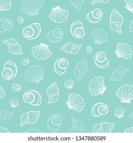 Vector pastel blue seashells repeat pattern. Suitable for gift wrap, textile and wallpaper. Surface pattern design.