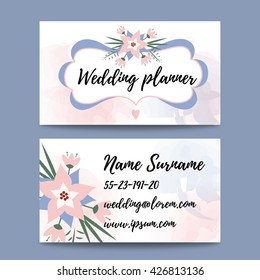 Vector pastel feminine business card template mockup with logo flower. Suitable for wedding planners or florist owners