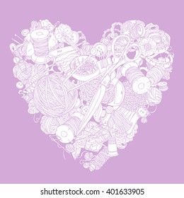 Vector Pastel Floral  ornament in heart shape as a symbol of love for needlework. Perfect for invitations or announcements.