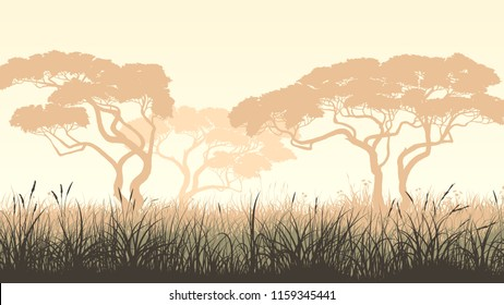 Vector pastel horizontal illustration with African landscape, meadow grass and acacia.