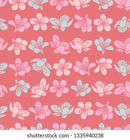 Vector pastel light red cherry blossom sakura flowers and seamless pattern background. Surface pattern design.