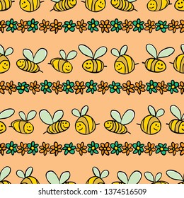 Vector pastel orange bees and flowers stripes repeat pattern. Suitable for gift wrap, textile and wallpaper. Surface pattern design.