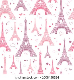 Vector Pastel Pink Eifel Tower Paris Seamless Repeat Pattern Surrounded By St Valentines Day Hearts Of Love. Perfect for travel themed postcards, greeting cards, wedding invitations.
